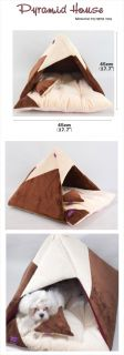 Indoor Pyramid Pet Dog Cat Cushion House Bed Brown
