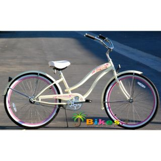 Beach Cruiser Bicycle Bike, Micargi ROVER GX 26 Womens VANILLA with
