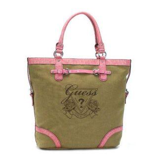 Guess Avignon Handbag Tote Shopper Beach Bag Canvas Logo Brown Pink