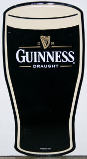 Guinness Beer Die Cut Glass of Guiness Metal Beer Sign