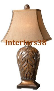 Set 2 Beach Tropical Carved Banana Leaf Table Hall Buffet Lamps w
