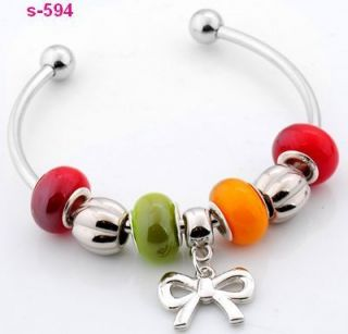 lampwork glass silver plated European beaded charm bracelet S 594