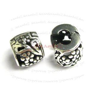 Silver Flower Clip Bead for European Charm Bracelets PB0447B