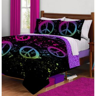 Colors Peace Sign Complete Full Comforter Bed in A Bag Set New