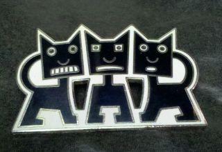 Bedard for Acme La Enamel Black and White Cat Brooch Pin
