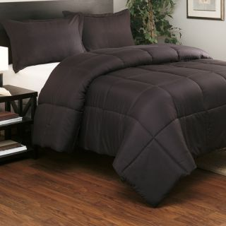 Set Solid Black Quilt Bedding Bed in A Bag Queen Full King