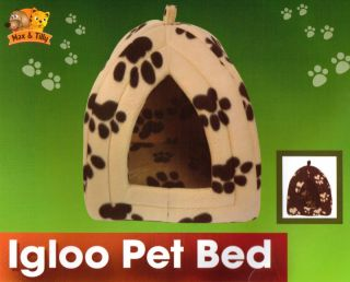 Pet Dog or Cat Igloo Pet Bed Black or Beige 35x35x40cm Fleecy Paws
