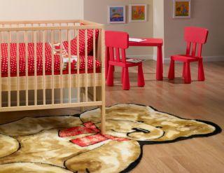 Childrens Teddy Bear Faux Fur Playmat Rug 5x7 New
