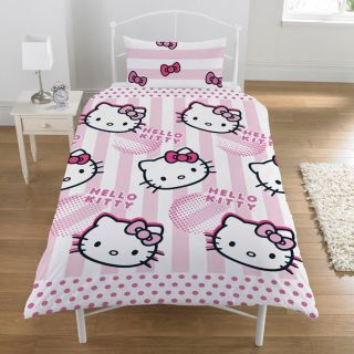 single bed hello kitty duvet cover and pillow case new candy stripe