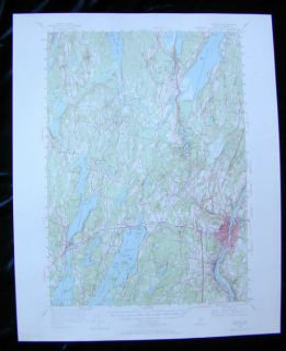 Augusta Maine Quad Topo Map 1956 1969 Belgrade Winthrop Hallowell