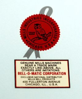 BELL O MATIC, MILLS NOVELTY CO LOGO, WATER SLIDE DECAL # DS 1074