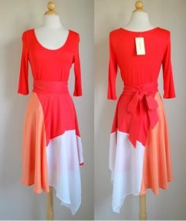 Beautiful Love Point Coral Colorblock Dress Anthropologie Earrings S