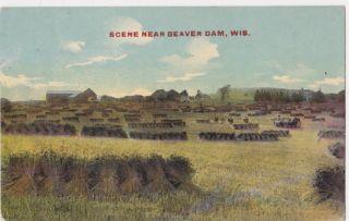 BEAVER DAM WI   farm scene fields 1914 POSTCARD wisconsin wis wisc