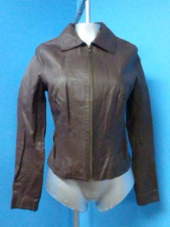 50472 Urban Behavior Fitted Brown Leather Women Coat Jacket Sz M