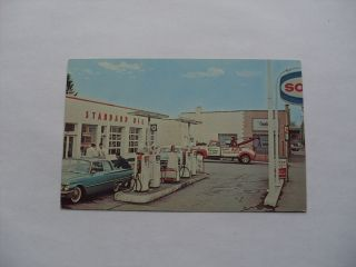 1960s SOHIO GAS SERVICE STATION & TOW TRUCK in Parma Ohio OH Postcard