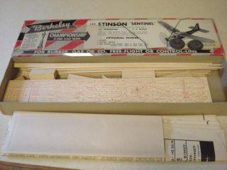 Berkeley Stinson Sentinel Control Line Model Airplane Kit