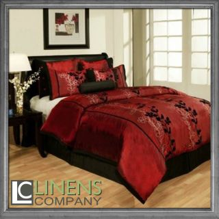 Burgundy Black Flocking Floral Comforter Set Bed in a bag Brand New