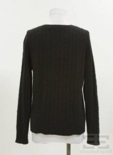 Belford Black Cashmere Cable Knit Sweater Size Large