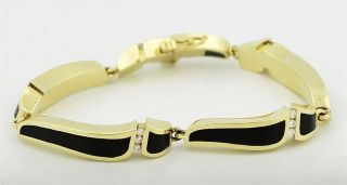 Excellent 18K Y G Bernard K Passman Diamond Bracelet with Black Coral