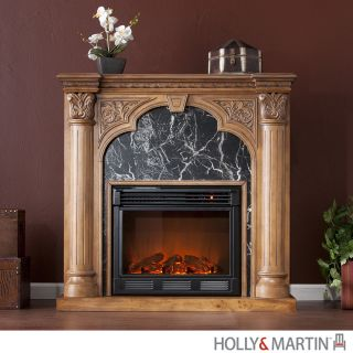 Bedford ELECTRIC FIREPLACE Oak Faux Marble Accent Room HEATER HOLLY