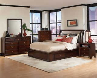 Nadine Queen Bedroom Se Maple Sorage Bed 5 Piece Collecion