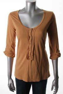 XCVI New Becca Brown Smocked Scoop Neck Henley Shirt Top XL BHFO