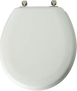 Bemis Mayfair White Round Molded Wood Toilet Seat with Brushed Nickel