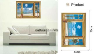 3D Window Beach Sea View Wall Stickers Art Decals Mural Wallpaper