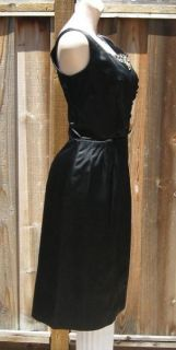 Vintage 50s Black Satin Rhinestone Pearl Wiggle Dress M