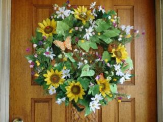 WREATH DOOR/WALL  SPRING BUMBLE BEES LADY BUGS FLOWER POTS SUNFLOWERS