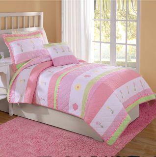 Pink Tara Stripe Flower Girls Bedding Twin Quilt Sham