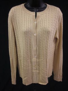 BELFORD Yellow Silk Cable Knit Long Sleeve Button Down Cardigan