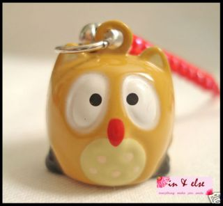 Brown Owl Bell Mobile Cell Phone Charm Strap 0 6