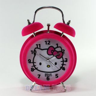 Sanrio Hello Kitty Hot Pink Felt Twin Bell Alarm Clock   Desk
