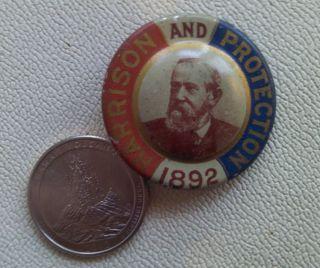 Antique Benjamin Harrison 1892 Presidential Button Pinback Pin