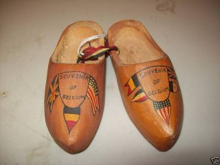 WWII Era Souvenir Wooden Shoes from Belgium