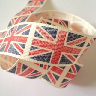3M Length Blue Union Jack Rustic Design Fabric Ribbon 2012