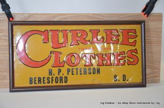 Antique Curlee Clothes Vintage Metal Advertising Sign Beresford SD