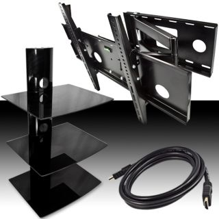 Swivel Arm 32 60 TV Wall Mount Full Motion Tilt 3 Tier DVD Stand HDMI