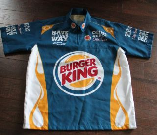 Tony Stewart Burger King race pit crew shirt worn by team Large