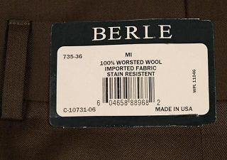 BERLE Mens Pleated Dress Pants Brown Worsted Wool Trousers Milan