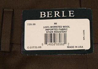 BERLE Mens Pleated Dress Pants Brown Worsted Wool Trousers Milan
