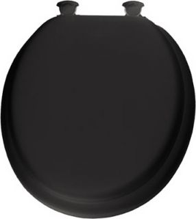 Bemis Mayfair Black Round Soft Padded Wood Core Toilet Seat with