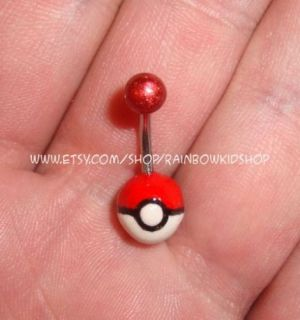 Pokemon Pokeball Belly Button Ring Navel Body Jewelry
