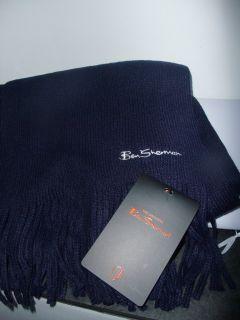 BEN SHERMAN SCARF DARK NAVY BLUE KNITTED ACRYLIC white signature new