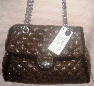 Big Buddha Quilted w Faux Fur Shearling Bag Purse Chain Strap Handbag