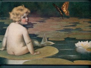 Bessie Pease Gutmann Mermaid Art on Board Lily Pad