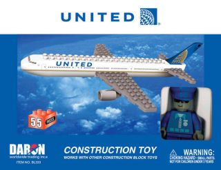 DARON TOYS BEST LOCK CONSTRUCTION TOYS UNITED AIRLINES PLANE POST CO