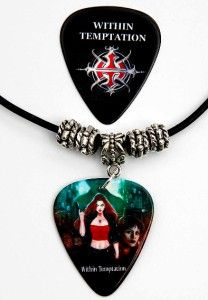 within temptation guitar pick black leather necklace pick