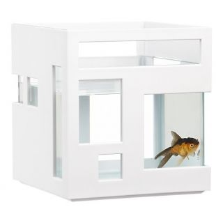 Fishhotel Aquarium Stylish Betta Beta Gold Fish Bowl Hotel Tank